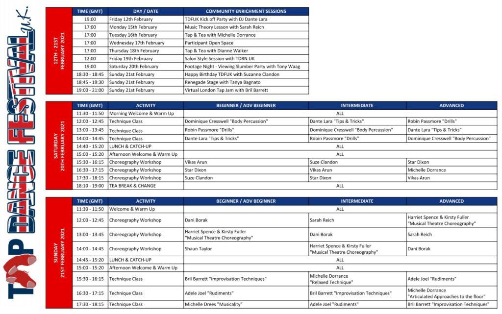 TDFUK Schedule 2021